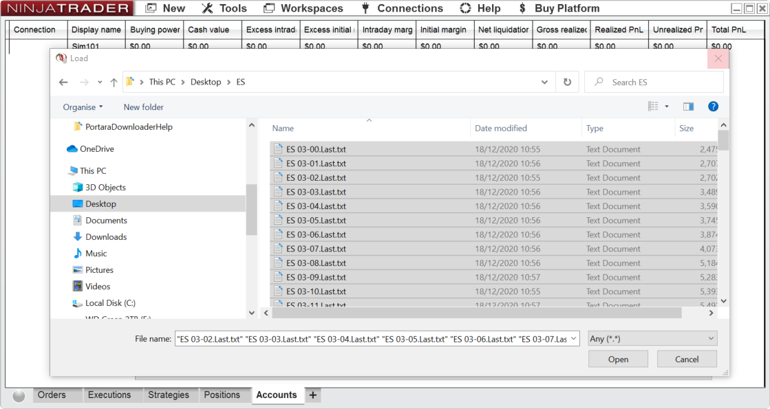 Select 1 Minute Data To Import