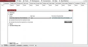 Import settings for tick data into NinjaTrader