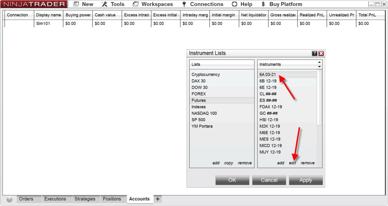 edit symbols within instrument list