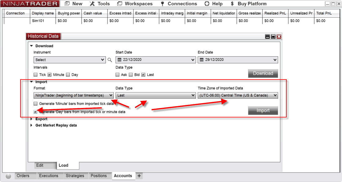 Self-Import 1 Minute Data